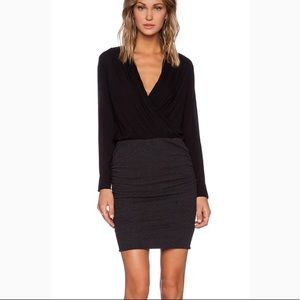 James Perse Dress Collage Wrap Ruched Long Sleeve